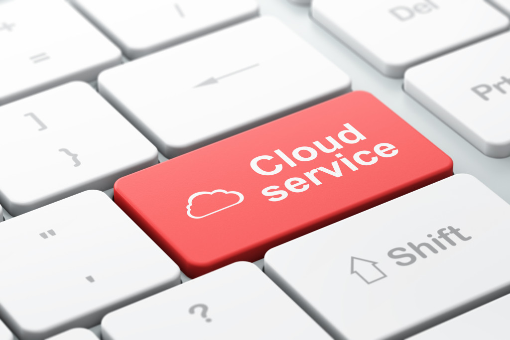 Cloud computing concept: Cloud and Cloud Service on computer key